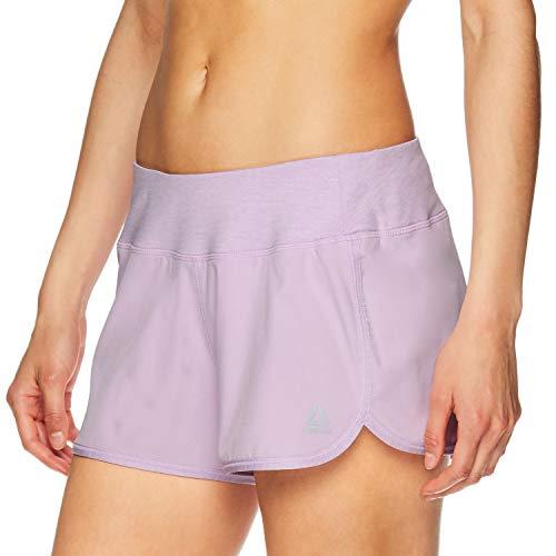 Reebok Women's Athletic Workout Shorts - Gym Training & Running Short - 3 Inch Inseam - Flight Duo Orchid Bloom, Medium