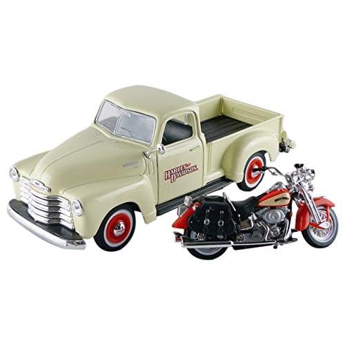 Maisto 32194CR - Chevrolet 3100 Pick-Up- 1950 Harley Davidson - 1950 - Echelle 1/24 - Crème/Rouge