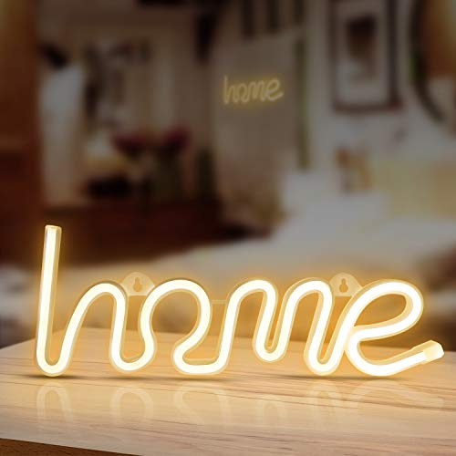 Home Neon Signs, LED Neon Signs for Wall Decor, Led Safety Art Wall Decoration Lights Neon Lights Night Table Lamp with Battery Powered/USB for Baby Room, Home, Wedding, Kids Gift