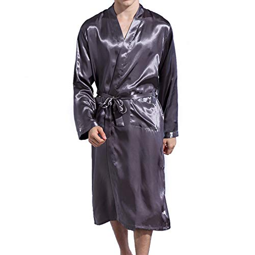 - Lu's Chic Men' Satin Kimono Robe Silk Classic Long Bathrobe Pockets Lighweight Loungewear Grey X-Large