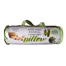 Aloe Vera Bamboo Comfort Pillow with Shredded Memory Foam and Removable Washable Cover, Queen