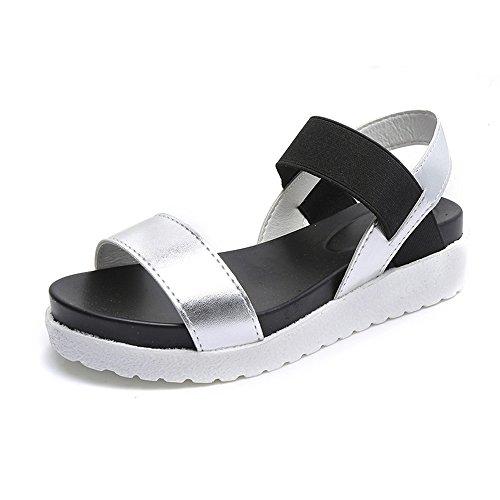 Plata Tamaño Plano Moda 1 Vinstoken Plata Calzado Delgado Blanco 35 Plato Verano de de Playa Mujere Sandalia modelo 2 4cm 40 Zapatos Negro elegir xq10w6Iq