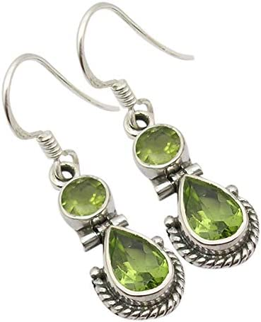 Details about  /Oval Faceted Green Peridot Earrings Solid 925 Sterling Silver Jewelry KE3296