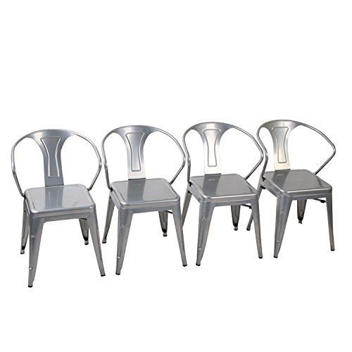 Tolix-Style Metal Dining Chairs [Set Of 4] Stackable Metal Chairs with Arms for Indoor/Outdoor, #02 Silver