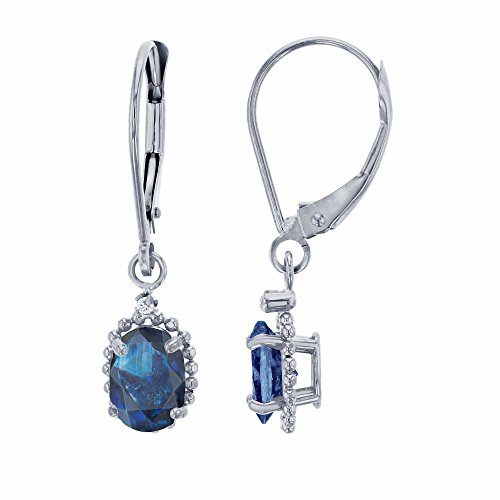 10K White Gold 1.25mm Round Created White Sapphire & 6x4mm Oval Sapphire Bead Frame Drop Leverback Earring Carats Ruby Sapphire Beads