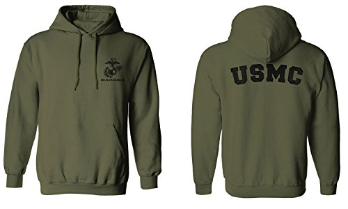 Marine Green (UNITED STATES OF AMERICA USA AMERICAN MARINE CORP USMC FRONT AND BACK Hoodie ( Olive, 2X-Large))