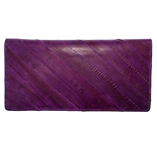 Rainbow Women's Genuine Eel Skin Leather Diagonal Slim Wallet Credit Cards Coin Purse (Purple)