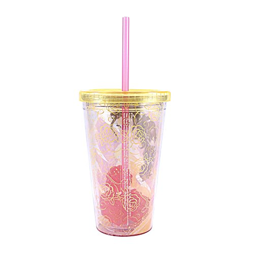 (Silver Buffalo DP48087Q Disney Princess Belle Plastic Cold Cup with Rose Shaped Ice Cubes,)