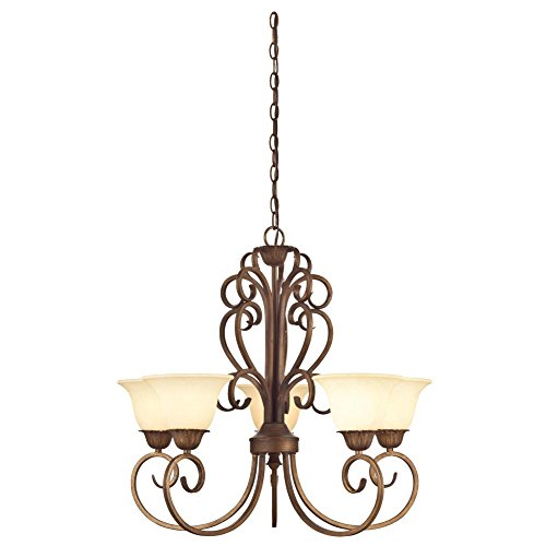 Westinghouse Lighting 6220600 Regal Springs Five-Light Interior Chandelier, Ebony Gold Finish with Burnt Scavo Glass