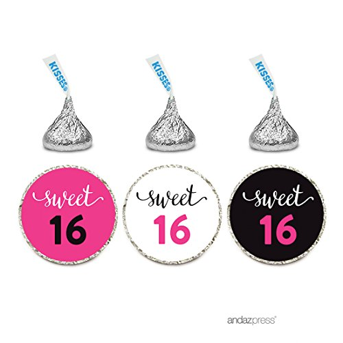 Andaz Press Chocolate Drop Labels Stickers Trio, Sweet 16 Black and Fuchsia Pink, 216-Pack, Fits Hershey's Kisses Party Favors, Hot Pink Decor Decorations, Invitation Envelope Seals (Chocolate Hot Personalized)