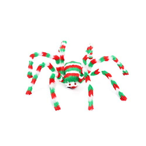 Fake Giant Spider Multi-color with Scary Red Eyes Halloween Decorations Hairy Poseable Spider for Yard Outdoor Window Party Decor]()