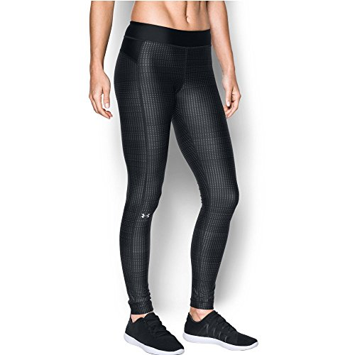 Under Armour Women's HeatGear Armour Printed Legging, Black/Metallic Gery, X-Small