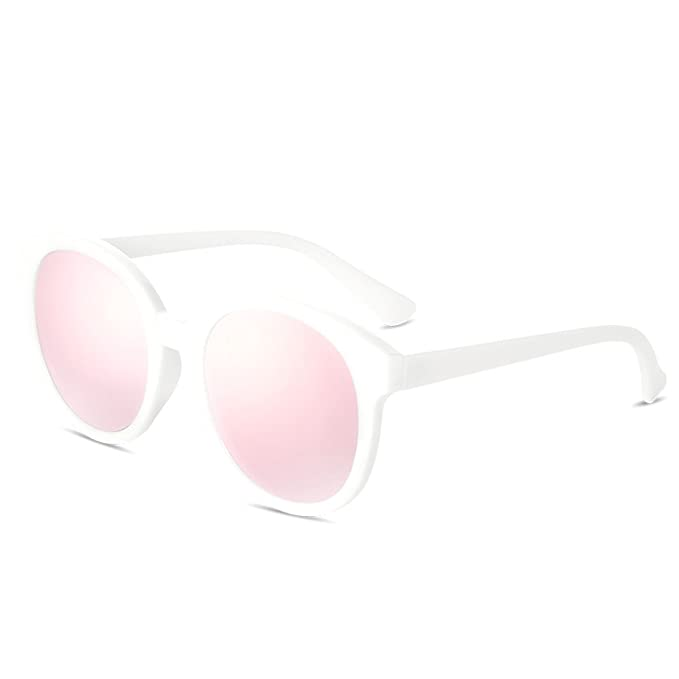 b4153e3e078 BLUEKIKI YEUX Women Polarized Sunglasses Vintage Oversized Round  Mirror(Rose gold