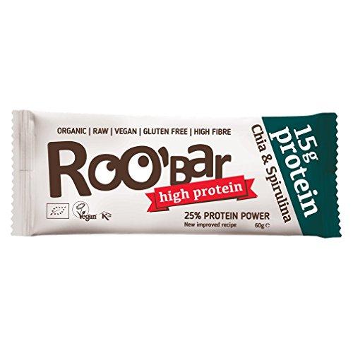 ROOBAR Protein Chia + Spirulina 60g Rohkost-Riegel (bio, roh, vegan) Neue Rezeptur!