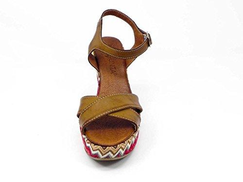 Para Sandalias Mujer Marrón Cuero Vestir De Pregunta 1FqS6wpw