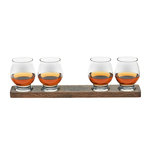 Libbey Signature Kentucky Bourbon Trail Whiskey Tasting Set, 4 Whiskey Glasses with Wood Paddle (Best Bourbon Tasting Glasses)