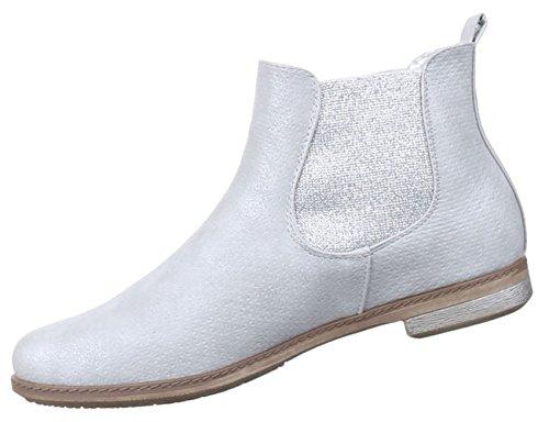 Damen Stiefeletten Schuhe Stretch Schwarz gold silber weiss 36 37 38 39 40 41 Silber
