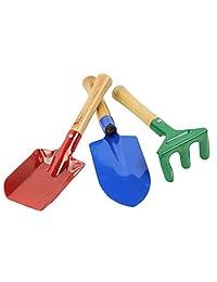 3 piezas Mini Metal rastrillo pala paleta Set Juego de herramientas de jardín niños playa Sandbox juguete