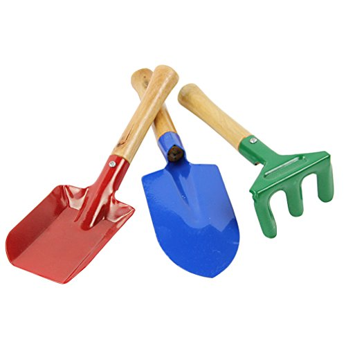 3pcs Mini Metal Rake Shovel Trowel Set Garden Tools Set Kids Beach Sandbox Toy