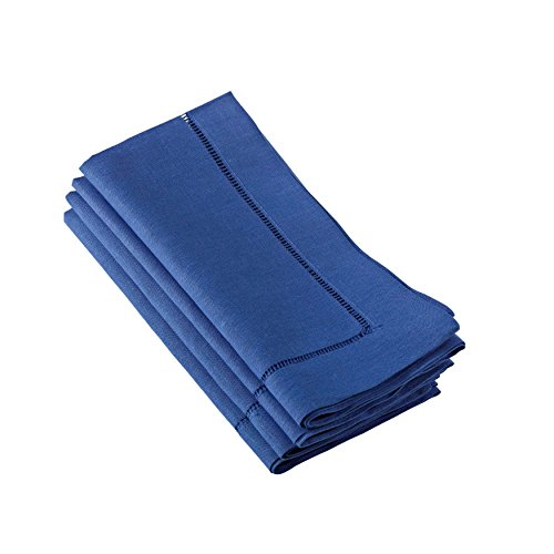 6100C 24/7 Everyday Collection Cobalt Blue Hemstitched Dinner Napkin, 20