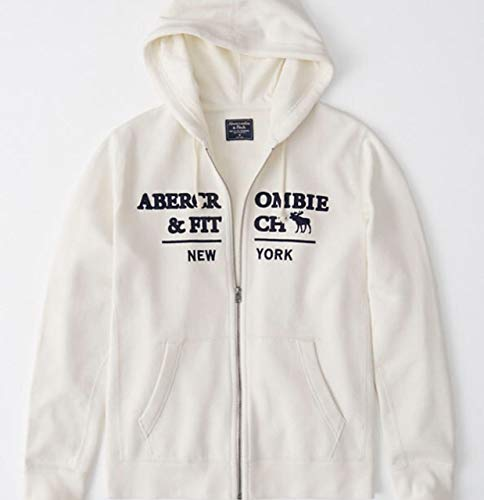 SOLD OUT!! ABERCROMBIE & FITCH HOODIE - size LARGE - NAVY AND CREAM. LOGO FULL ZIP UP JACKET HOODIE - NAVY BLUE WITH WHITE LETTERING SOLD OUT - (Hoodie Fitch Abercrombie)