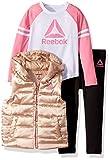 Reebok Toddler 3 Piece Sport Girl Puffer Vest, Varsity T-Shirt, Legging Set, Black, 2T