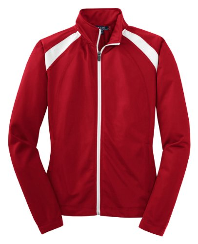 - Sport-Tek - Ladies Tricot Track Jacket. LST90 - Medium - True Red / White