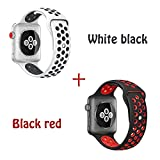 Nitrobotics 2 Pack Band Compatible with Apple Watch 42mm,Soft Durable Breathable Silicone Sport Replacement Strap for Apple Watch Series 3/2/1,Edition,M/L Size,White Black + Black Red