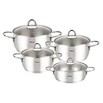 Hisar 8 Piece Mercury Stainless Steel Cookware Set