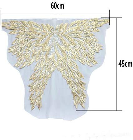 1 pcs Gold Embroidered Yarn Sequins Phoenix Phoenix Tail Feather Butterfly Embroidery Patterned Cheongsam//Dress//Stage Costume Decorative Accessories(red)