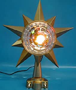"10"" Lighted Nostalgic Rotating Color Changing Gold Star Christmas Tree Topper"