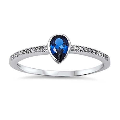 Blue Apple Co. Accent Teardrop Wedding Engagement Ring Pear Shape Simulated Sapphire Round Clear CZ 925 Sterling Silver