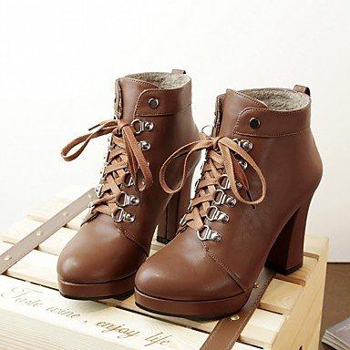 Desy mujeres otoño invierno comodidad diseño de piel sintética zapatos de botas de combate botas Chunky Heel Ronda Toe Botines/Botas de tobillo con cordones para amarillo