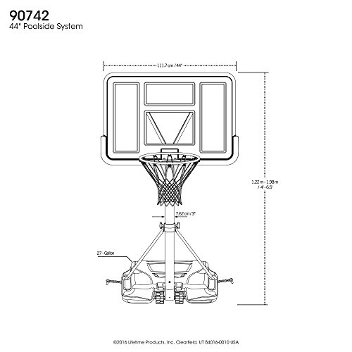 amazon com lifetime 90742 pool side adjustable portable basketball rh amazon com basketball hoop dimensions diagram