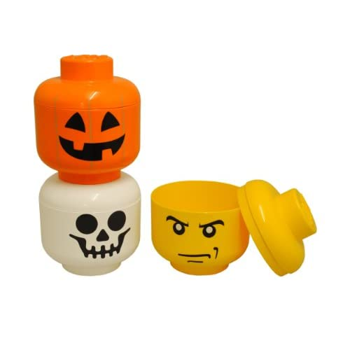 Room Copenhagen 40310108 Tête de Rangement Lego Format S Citrouille Polypropylène Orange 19,5 x 16 x 16 cm