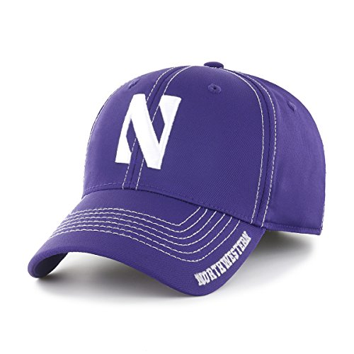 NCAA Northwestern Wildcat Line Ots Center Stretch Fit Hat, Large/X-Large, Purple ()