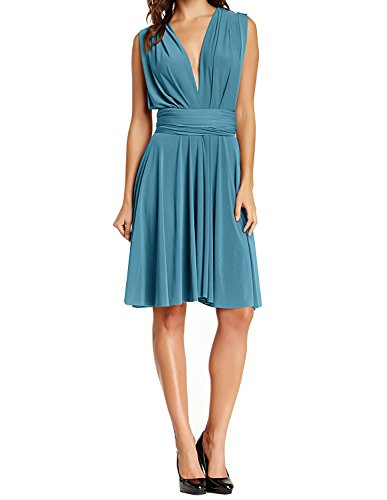 Womens Short Convertible Multi Way Wrap Transformer Infinity Bridesmaids Cocktail Flowy Mini Dress Teal S
