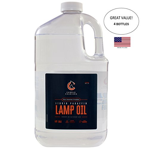 Paraffin Lamp Oil Fuel 1 Gallon Bottles Bulk (4 Pack) Pure Clear Odorless Smokeless Clean Burning Unscented Made in USA by Candle Charisma (Image #1)