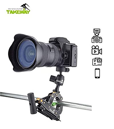 TAKEWAY T1+ Clampod. T1 Plus=T1+G1. DSLR Srand Support, Loading 6.6lb/3kg.Travel Portable Mini Tripod, Quick Release System, 360°Degrees,Digital Camera/Gopro/Most Electronic Products.