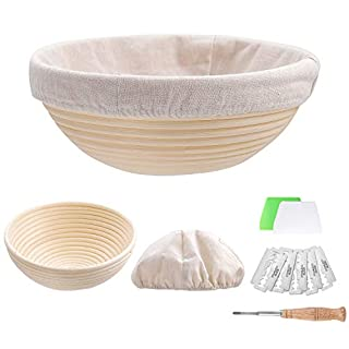 Set of 2 9 inch Round Bread Proofing Baskets Natural Rattan Banneton Sourdough Rising Bowl Basket with Dough Scraper + Bread Lame + Cloth Liner for Bakery Home Bakers