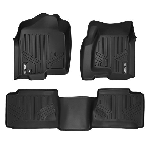 - SMARTLINER Floor Mats 2 Row Liner Set Black for 2001-2007 Silverado/Sierra 1500/2500/3500 Extended Cab Classic Body Style