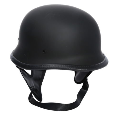 DOT Motorcycle Matte Black German Half Face Helmet Chopper Cruiser Biker(X-Large, Grey) ()