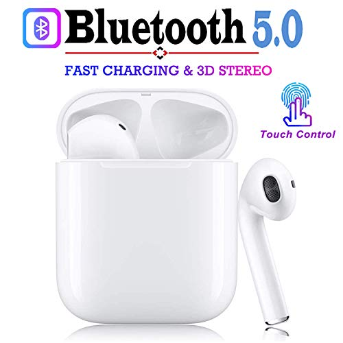 BJP Bluetooth Headphones, Wireless Earbuds, Noise Cancelling 3D Stereo Touch-Control Sports Headsets, 24 Hrs Playtime, IPX5 Waterproof Earphones, for IOS iPhone Apple of airpod And Airpods
