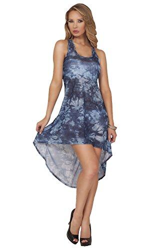 Womens Mesh Boho Tie Dye Sheer High Low Beach Tank Dress Bikini Cover Up Wrap