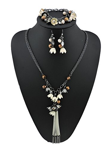 Bocar Long 2 Layer Chain Unique Flower Pendant Tassels Necklace Bracelet Earrings Women Jewelry Set (SET-1010-cream)