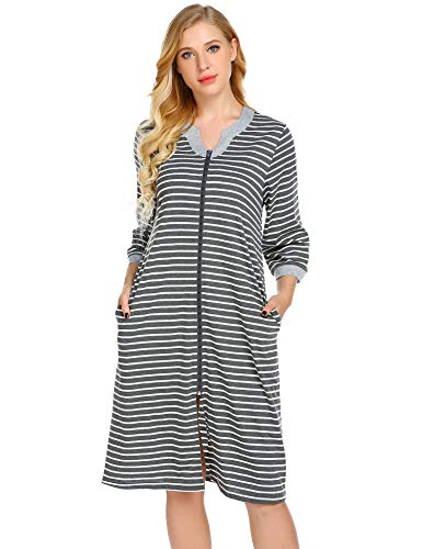 Ekouaer Striped Robe, Zipped Fron Nightgown for Women Contrast Nightshirt Sleepwear with Pocket,Grey,Large