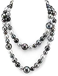 "14K Gold 9-15mm Off-Round Tahitian Multicolor South Sea Cultured Pearl Necklace - AAA Quality, 36"" Opera Length"