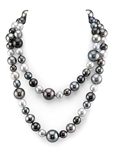 - THE PEARL SOURCE 14K Gold 9.5-15mm Round Genuine Multicolor South Sea Cultured Pearl Necklace in 36