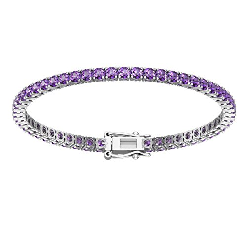 3mm Solid Sterling Silver Natural Amethyst 4.9CTW High Polished Tennis Bracelet with Box Clasp by Silver Smile (Image #1)