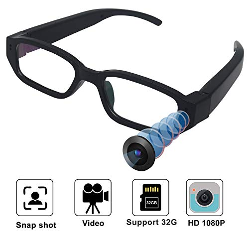 Hidden Camera – Spy Camera HD 1080P Glasses Camera – Mini Spy Camera – Hidden Camera Glasses Surveillance Camera Video-only Hidden Spy Cam No Wi-Fi Needed-No Audio No Support Bugging Wiretapping